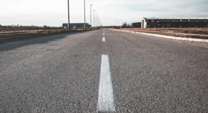Weg streep asfalt